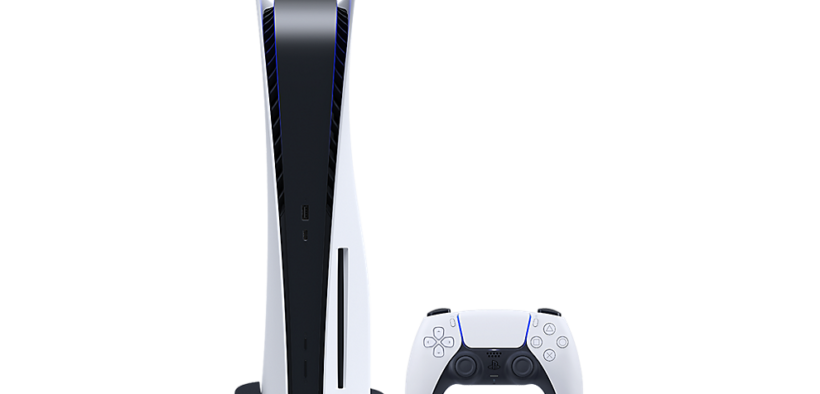 playstation 5 standard console standing with dualsense controller hero